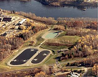Aerial view of the Veazie Sanitary District lagoon system.
